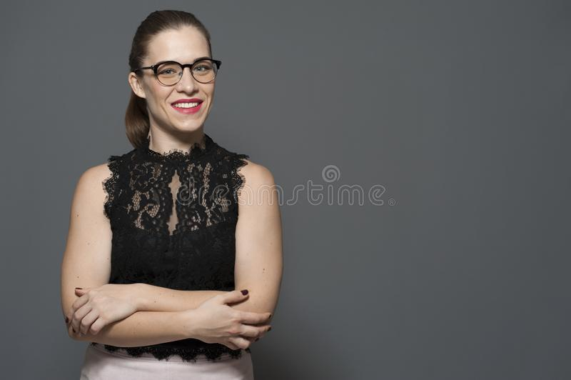 Concept of successful attractive young woman stock photo