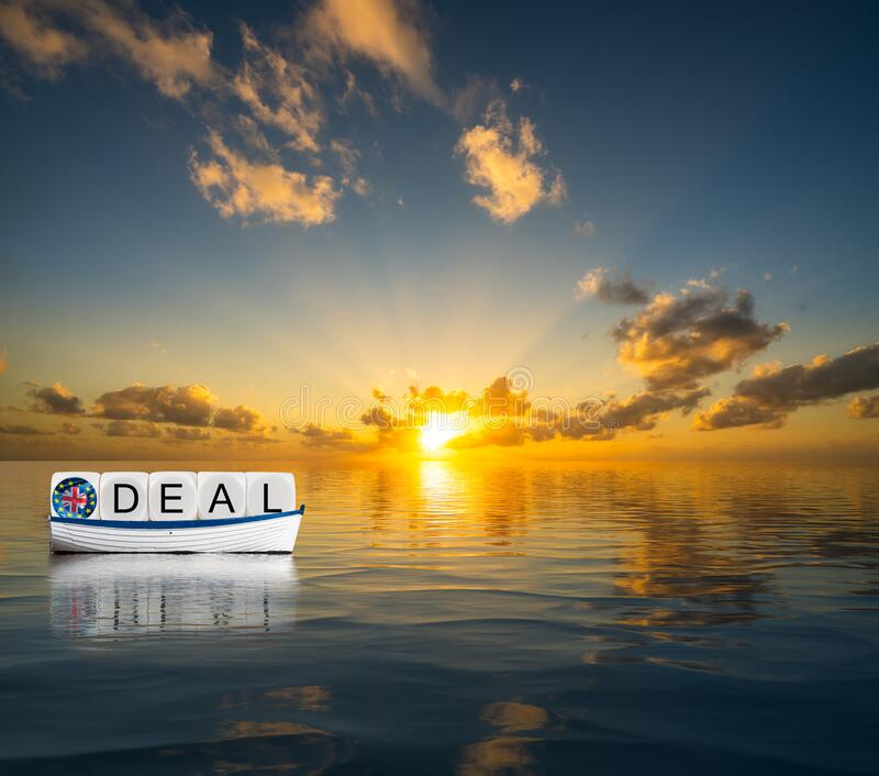 Concept of successful Brexit trading deal in 2020 with UK sailing towards Global Britain future. Illustrative concept of successful Brexit trading deal in 2020 royalty free stock photo