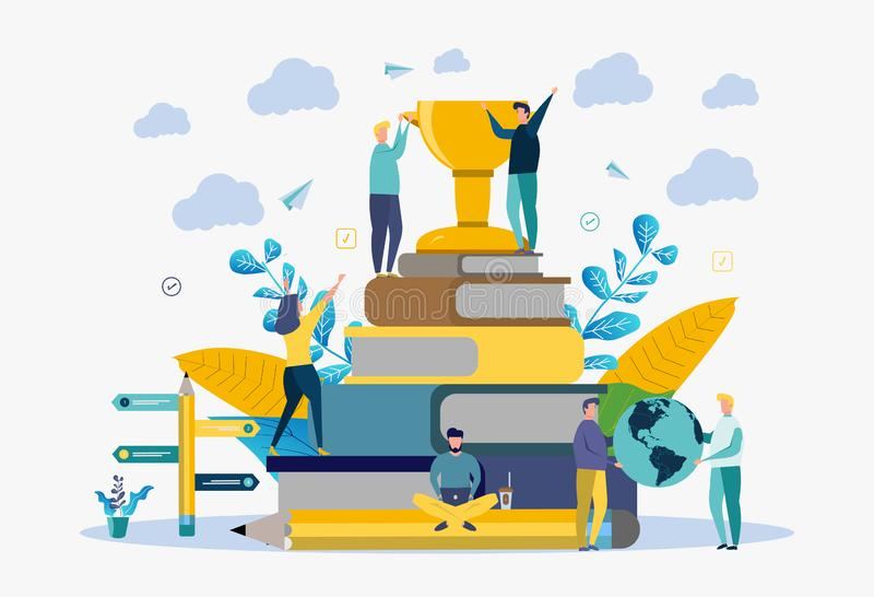 The concept of a successful education. Victory, number one, competition, knowledge, skills. Colorful vector illustration. The metaphor of the best education vector illustration