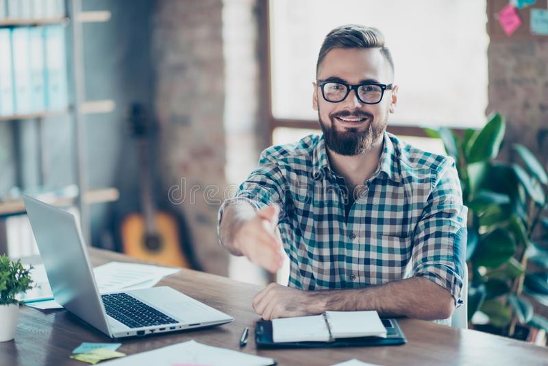 Concept of successful job interview. Portrait of happy cheerful royalty free stock photos
