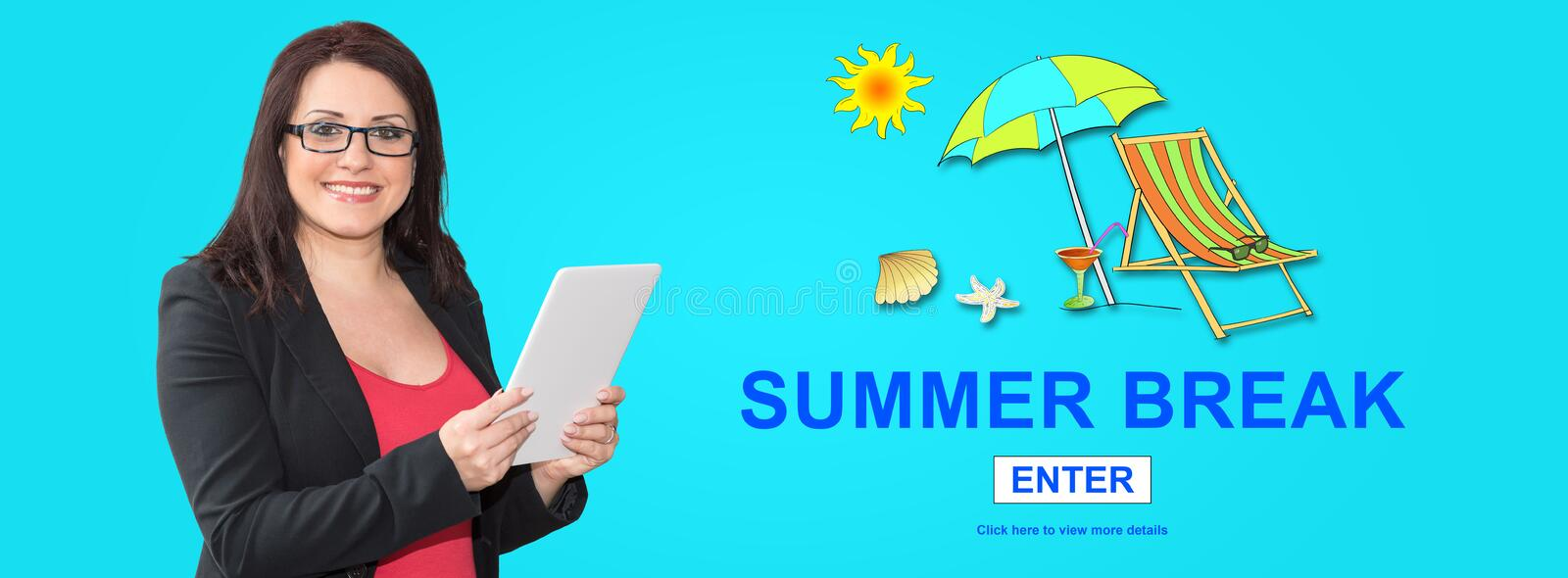 Concept of summer break. Woman using digital tablet with summer break concept on background royalty free stock image