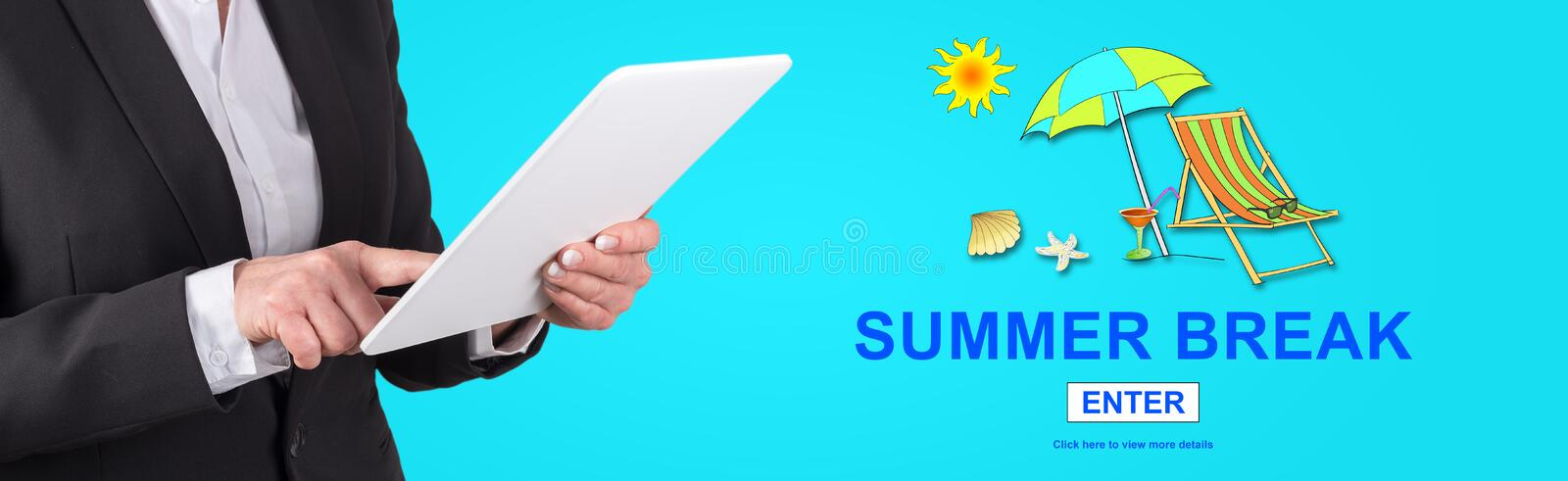 Concept of summer break. Woman using digital tablet with summer break concept on background stock photography