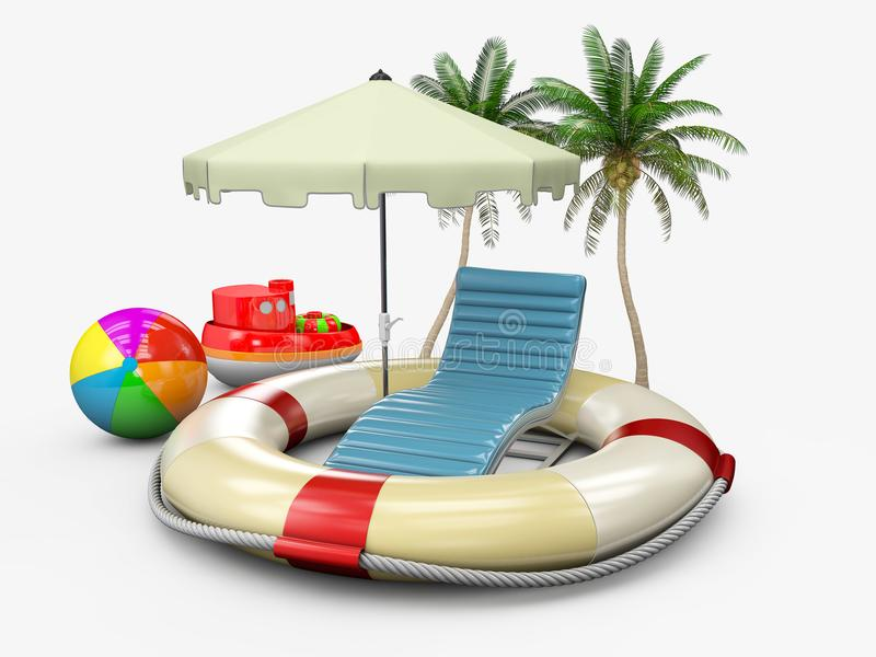 Concept of summer holiday with lifebuoy and beach accessories, 3d illustration stock illustration
