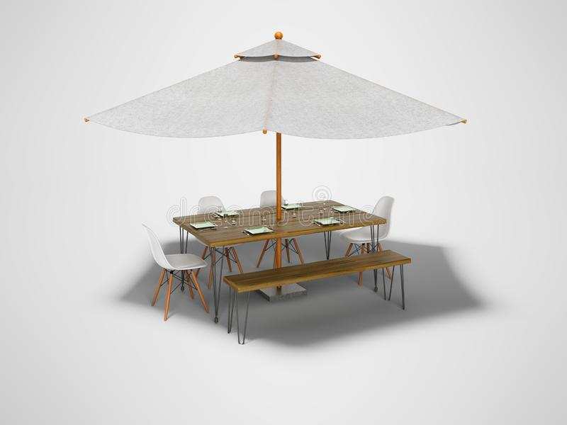Concept summer umbrella with table and chairs for picnic 3d render on gray background with shadow. Concept summer umbrella with table and chairs for picnic 3d stock illustration