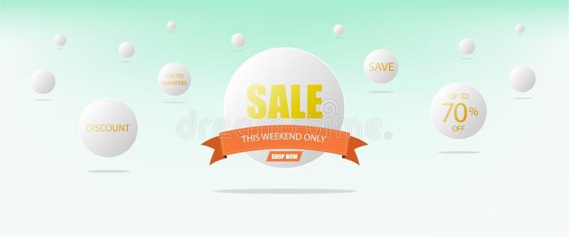 Concept superbe de vente, bannière blanche de calibre de cercle et ruban orange illustration stock