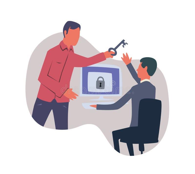 Concept sur le sujet du cybersecurity Une personne donne à l'autre une clé pour accéder à l'ordinateur Illustration de vecteur illustration stock