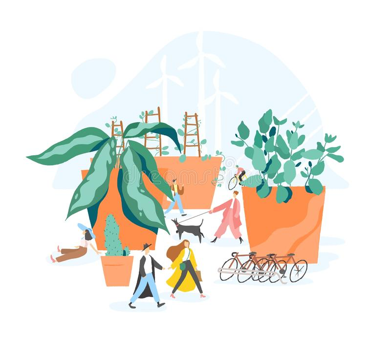 Concept of sustainable, eco or green city, car free area, urban sustainability, walkable urbanism. People walking among vector illustration