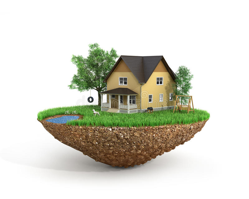 Concept of sweet home. House with on the grass with trees on the island is flying stock illustration