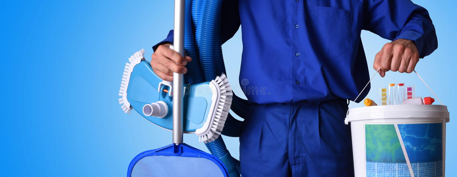 Concept swimming pool maintenance worker with blue - Swimming pool cleaning chemicals list ...
