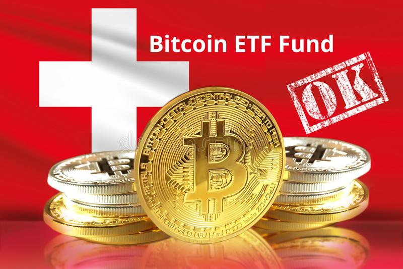 Concept of Switzerland Approves to the Amun Crypto Exchange Traded Product ETP for Bitcoin. And other Cryptocurrency ETF stock photography