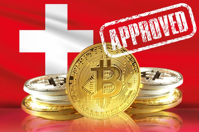 Concept of Switzerland Approves to the Amun Crypto Exchange Traded Product ETP for Bitcoin. And other Cryptocurrency ETF stock image