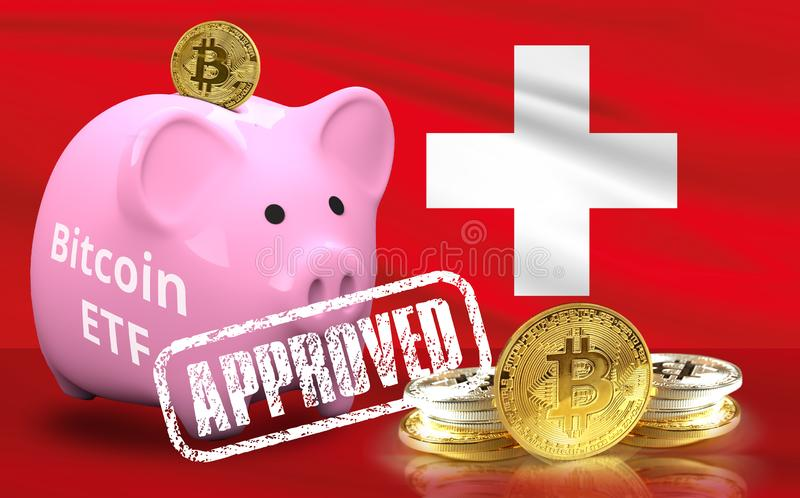 Concept of Switzerland Approves to the Amun Crypto Exchange Traded Product ETP. For Bitcoin and other Cryptocurrency ETF royalty free stock image