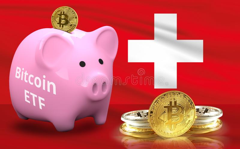 Concept of Switzerland Approves to the Amun Crypto Exchange Traded Product ETP for Bitcoin vector illustration