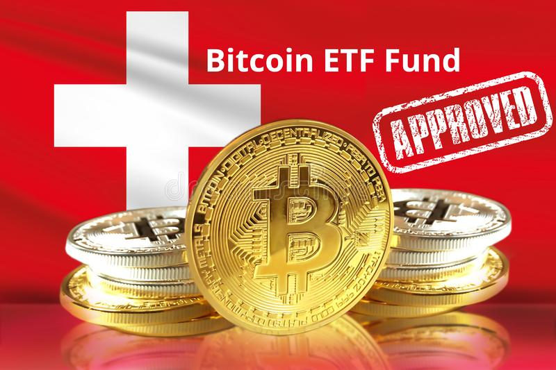 Concept of Switzerland Approves to the Amun Crypto Exchange Traded Product ETP for Bitcoin. And other Cryptocurrency ETF royalty free stock photo