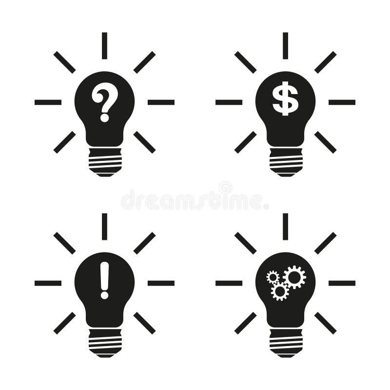 Concept, symbolisant la nouvelle idée ou initiative Icône d'idée d'ampoule Illustration avec un ensemble d'ampoules conceptuelles illustration stock