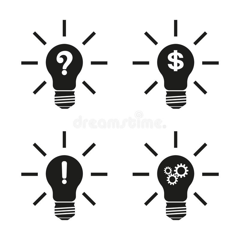 Concept, symbolizing the new idea or initiative.Lightbulb idea icon.Illustration with a set of isolated conceptual light bulbs stock illustration