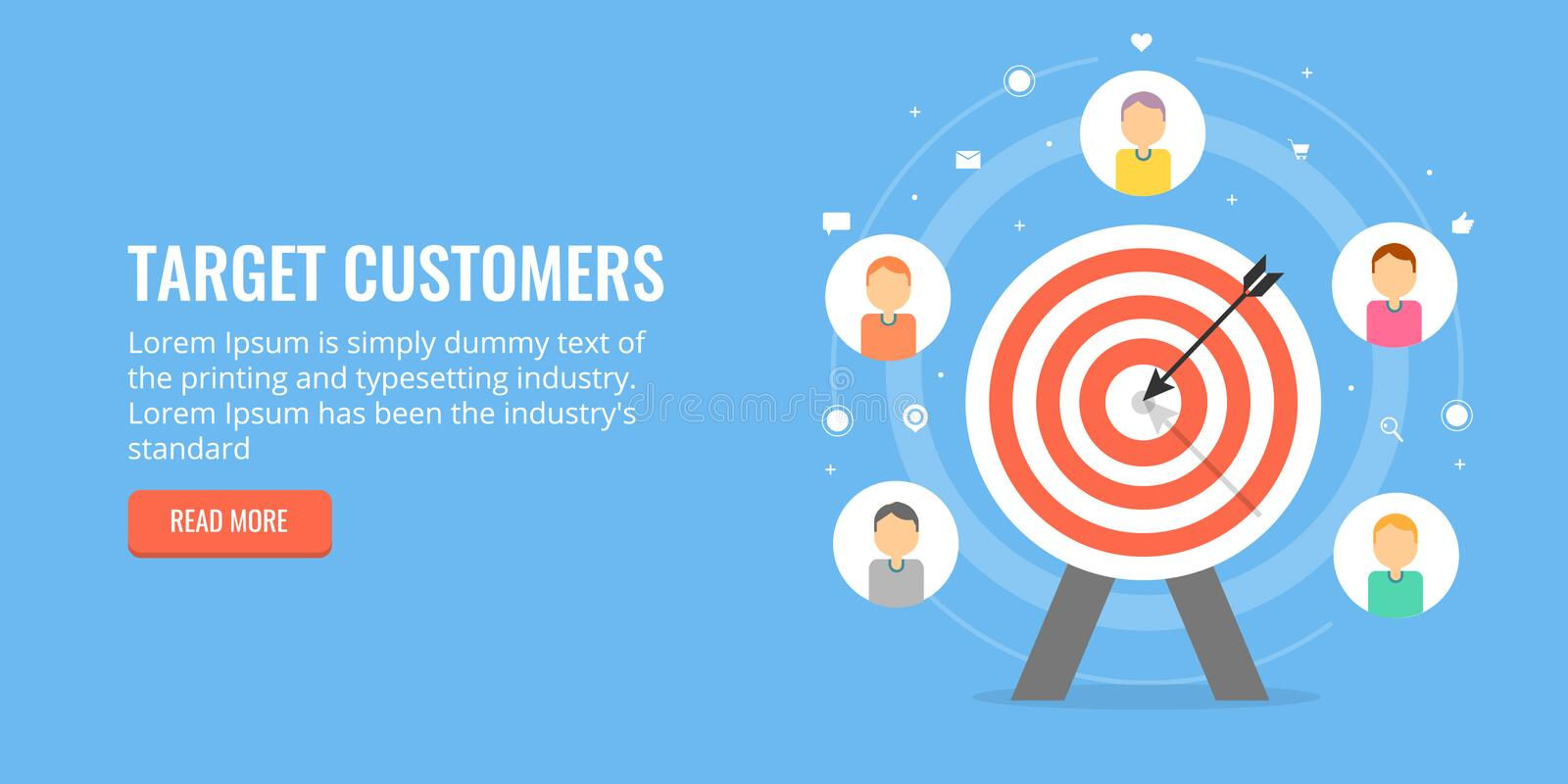 Target customers for online business, attracting new leads. Flat design marketing banner. Concept of targeting new customers, lead generation for online stock illustration