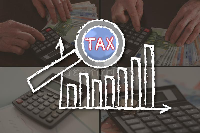 Concept of tax analysis stock images