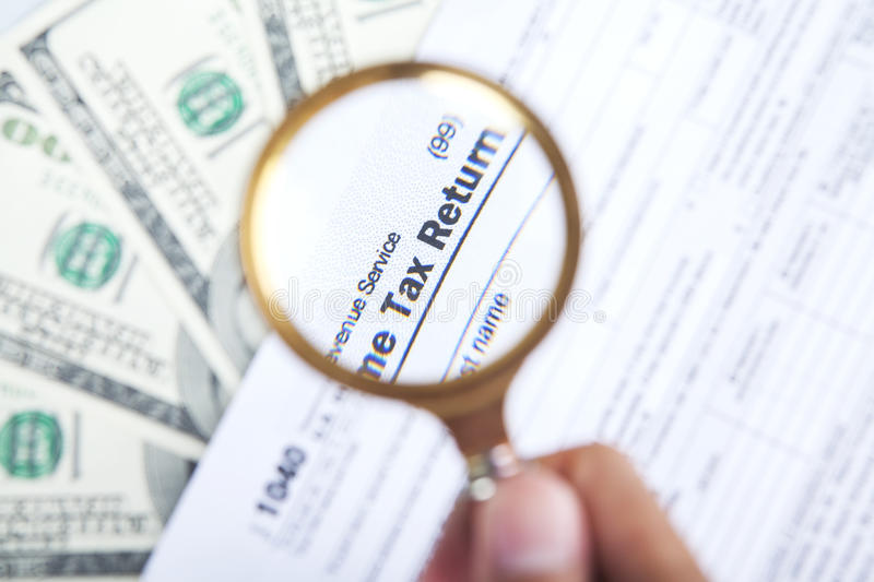 Concept of tax analyze stock images