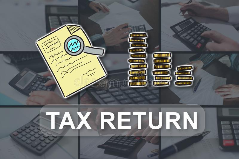 Concept of tax return. Tax return concept illustrated by pictures on background stock images