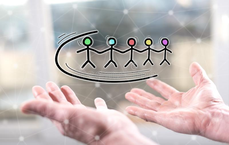 Concept of teamwork stock photography