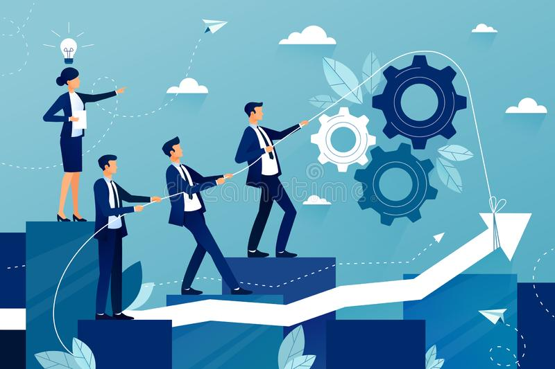 Concept of teamwork in business company. Business team walking to success. Female boss showing way to future success. Mutual support and assistance in work stock illustration