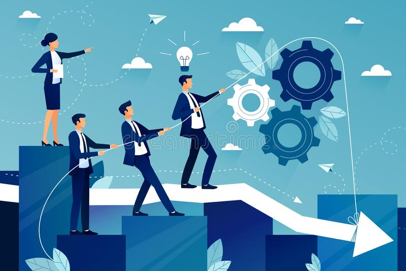 Concept of teamwork in business company. Business team walking to success. Female boss showing way to future success. Concept of teamwork in business company vector illustration
