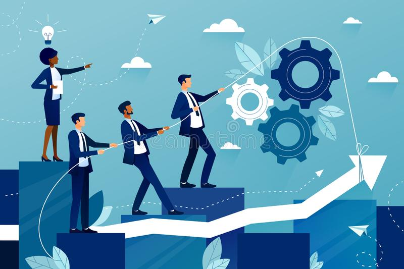 Concept of teamwork in business company. Business team walking to success. Female boss showing way to future success. Mutual support and assistance in work vector illustration