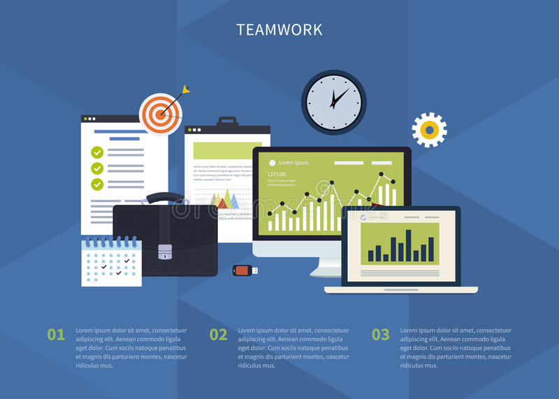 Concept of teamwork. Flat design modern vector illustration concept of teamwork. Icons with laptop, computer, office objects with papers and documents stock illustration