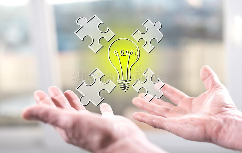 Concept of teamwork idea. Teamwork idea concept above the hands of a man royalty free stock images