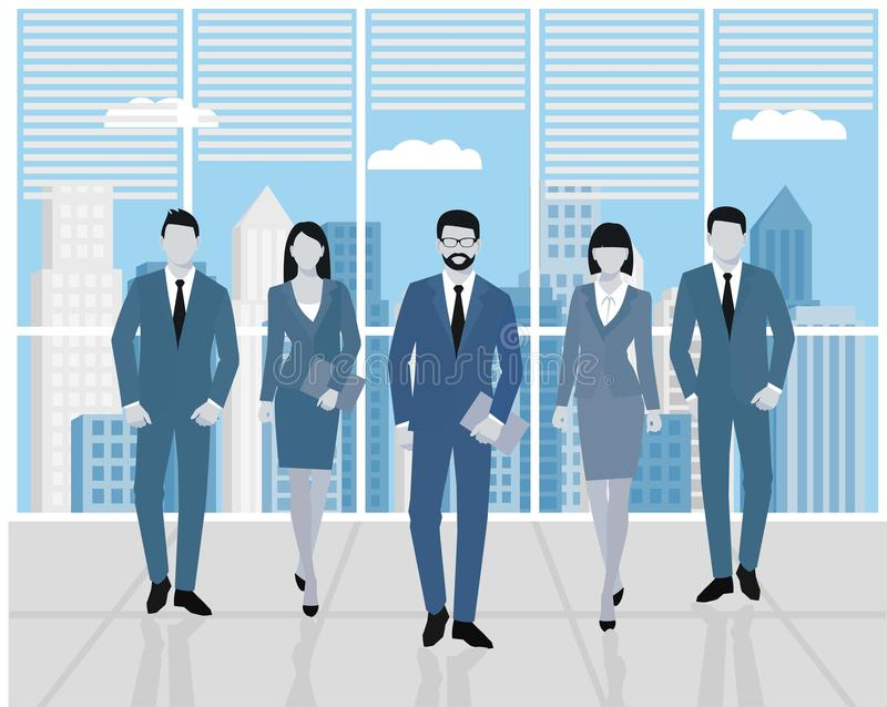Concept teamwork. Men and women in the office. Set of business people, office team stock illustration