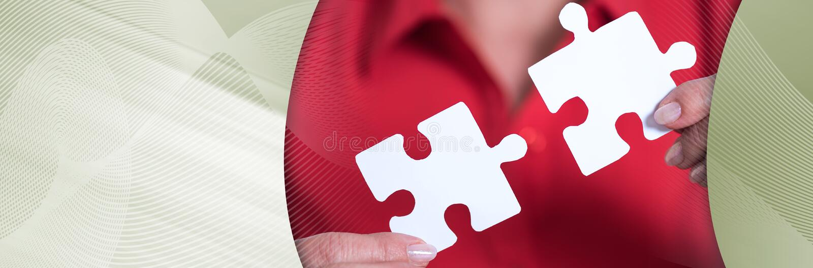 Concept of teamwork; panoramic banner. Hands joining two puzzle pieces, teamwork concept; panoramic banner royalty free stock images