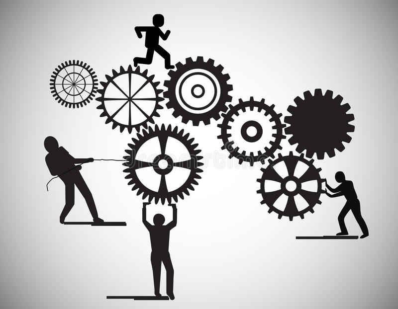 Concept of Teamwork, people building gear wheels, this also represents business partnership, unity, team working . vector illustration