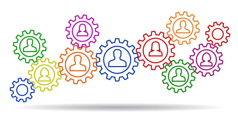 Concept teamwork, staff, partnership - vector stock illustration