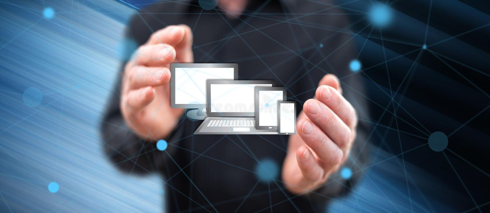 Concept of technology devices royalty free stock photos