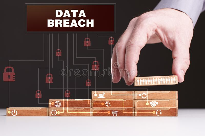 The concept of technology, the Internet and the network. Businessman shows a working model of business: Data breach royalty free stock photos