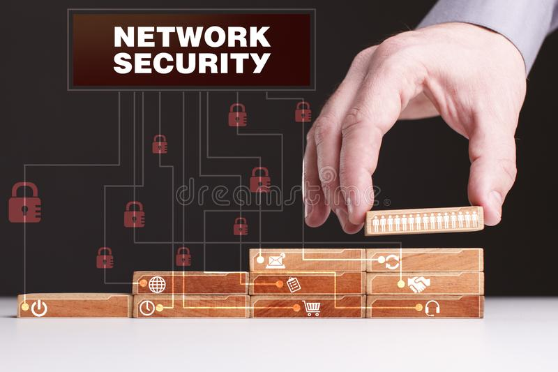 The concept of technology, the Internet and the network. Businessman shows a working model of business: Network security royalty free stock photography