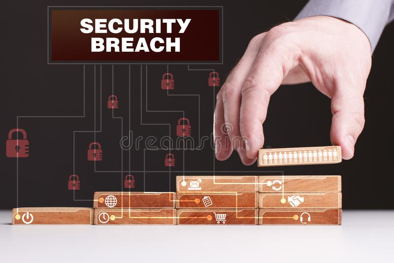 The concept of technology, the Internet and the network. Businessman shows a working model of business: Security breach royalty free stock image