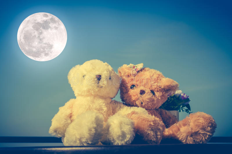 Concept teddy bears couple with love and relationship for valentine day. royalty free stock photo
