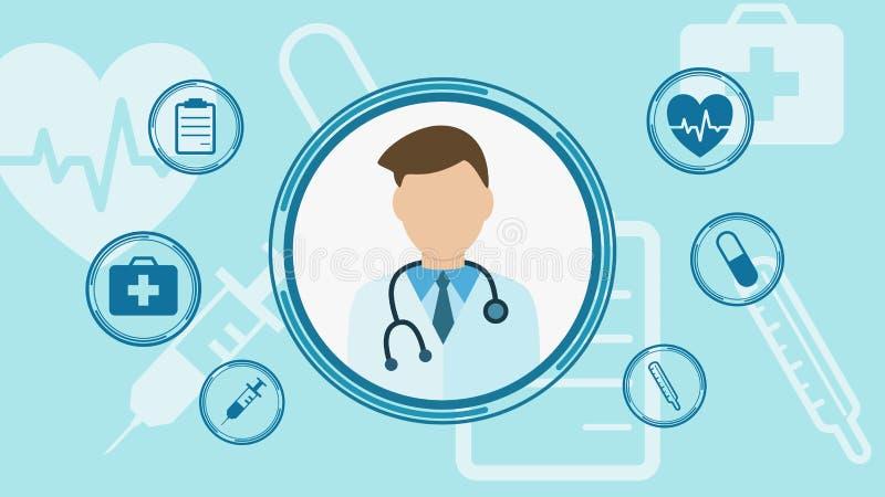 Concept of telemedicine. Online doctor consultant, concept of telemedicine, cartoon, flat style stock illustration