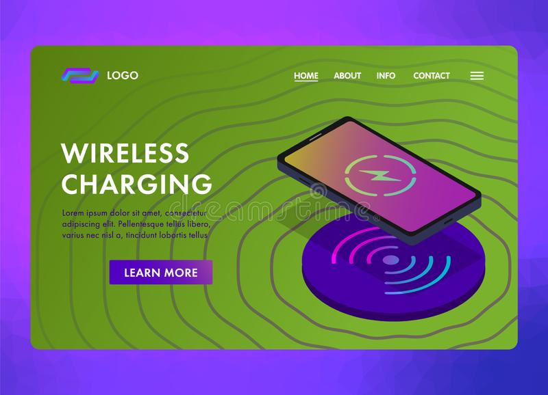 Concept template of wireless charging for smartphone with icon battery and charging progress for sites, landing pages and banners vector illustration