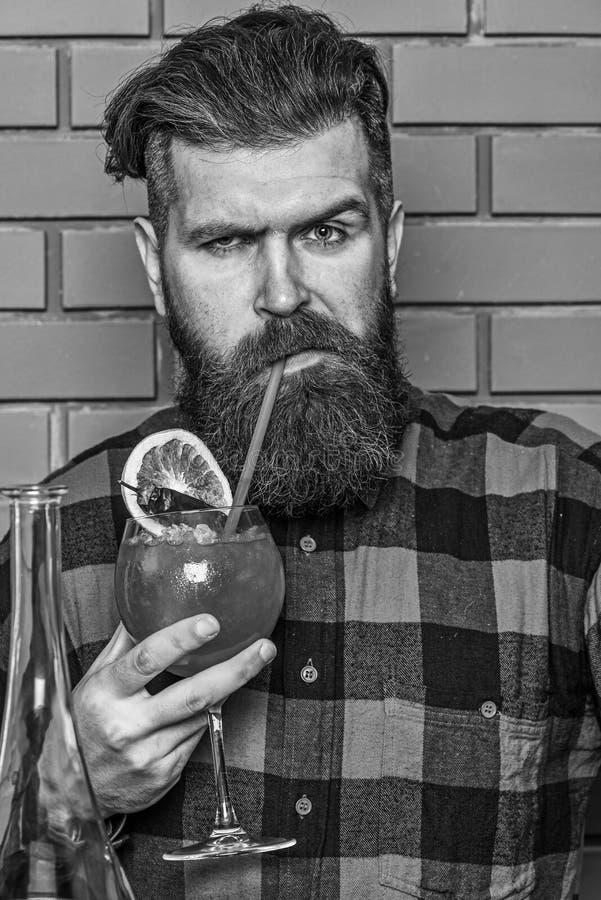 Concept tenant le bar L'homme dans la chemise ? carreaux sur des go?ts de fond de mur de briques boit Barman avec la longues barb images libres de droits