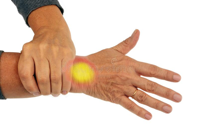 Hand holding a sore wrist close up on white background. Concept of tendonitis, osteoarthritis, rheumatism with someone holding their wrist stock photography