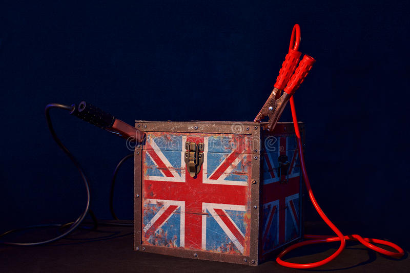 Concept of terrorism.England flag box and jumper cables royalty free stock photos