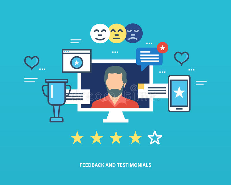 Concept of testimonials. Concept illustration - feedback, reviews and rating, testimonials, like, communication. Voting system, communications and technology stock illustration