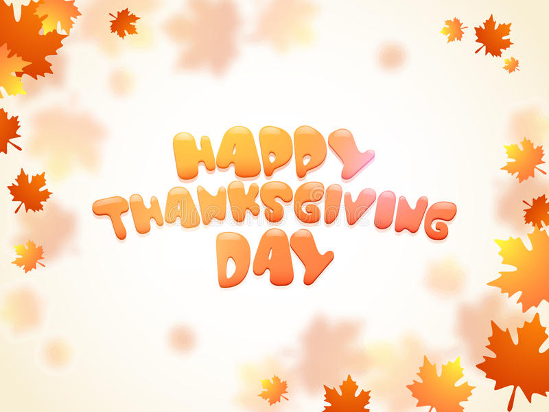 Concept of Thanksgiving Day celebration wtih maple leafs. stock illustration