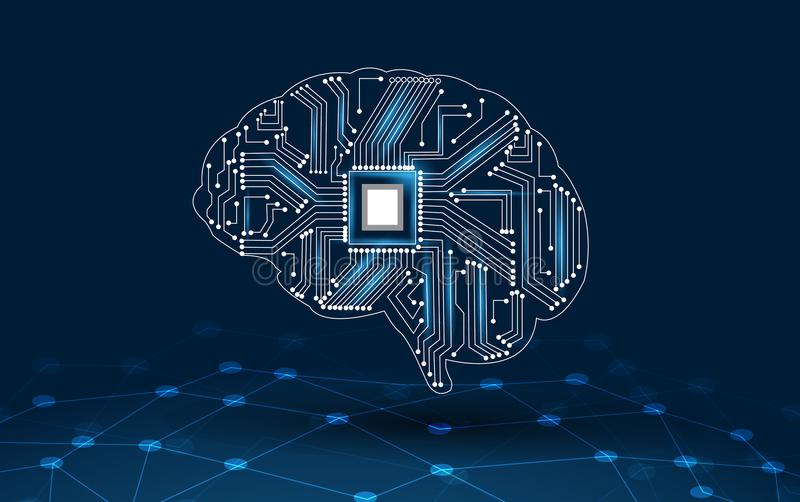 Concept of thinking.background with brain CPU Mind series technology symbols subject of computer science, artificial royalty free illustration