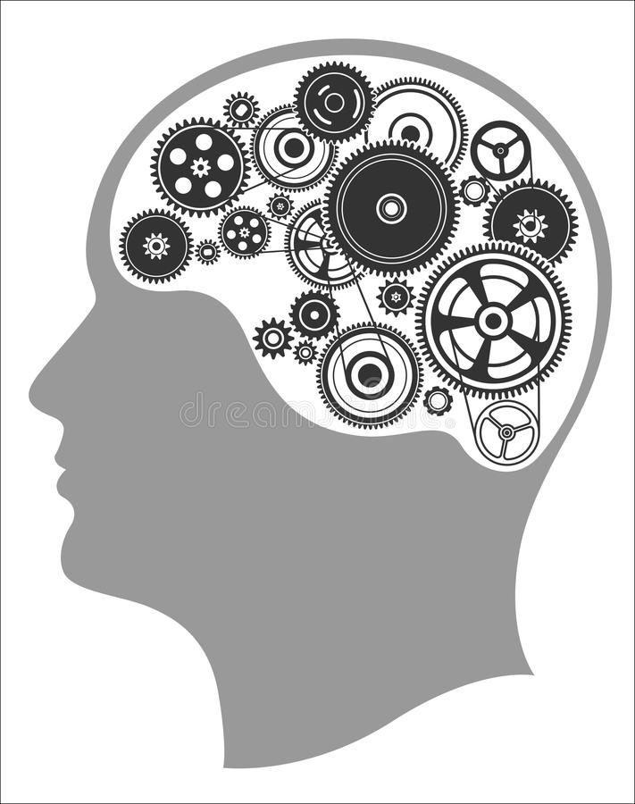 Concept of thinking, mind works, the creation of ideas royalty free illustration