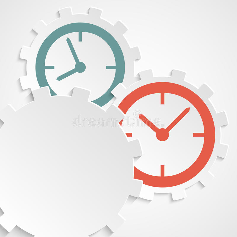 Concept of time clock on the gear icon cutaway paper royalty free illustration