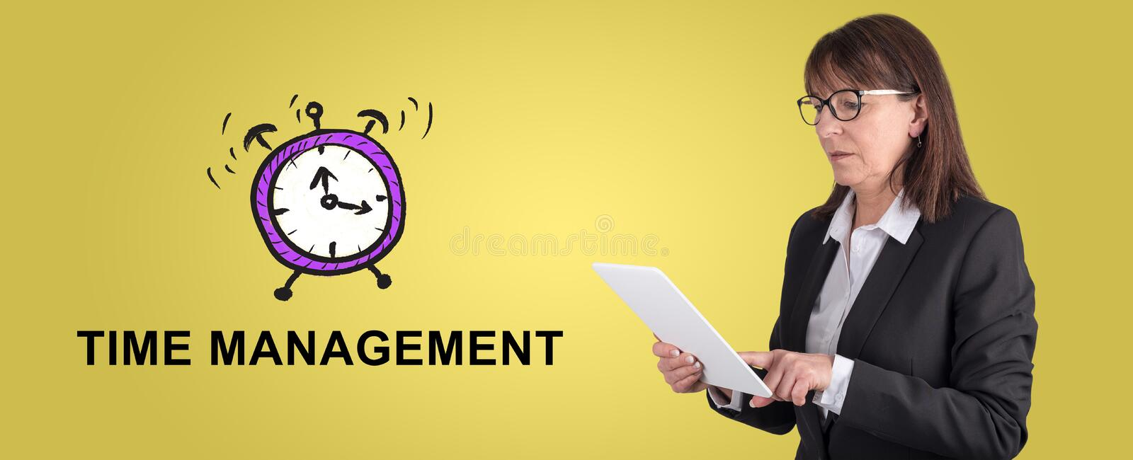 Concept of time management stock images